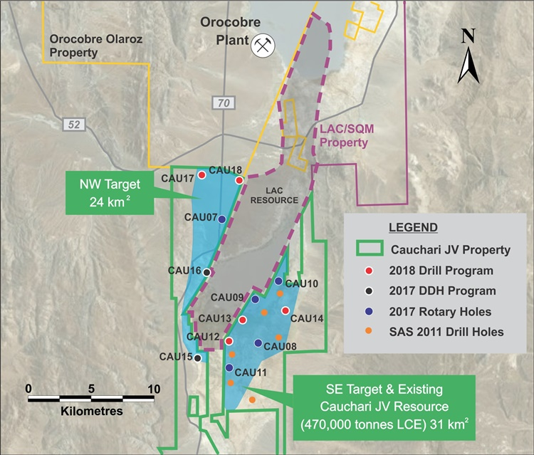 Advantage Lithium Location of CAU15 and other Cauchari drill holes