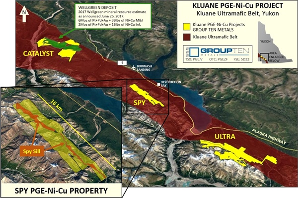 Group Ten Metals Spy Property within Kluane PGE Ni Cu Project small