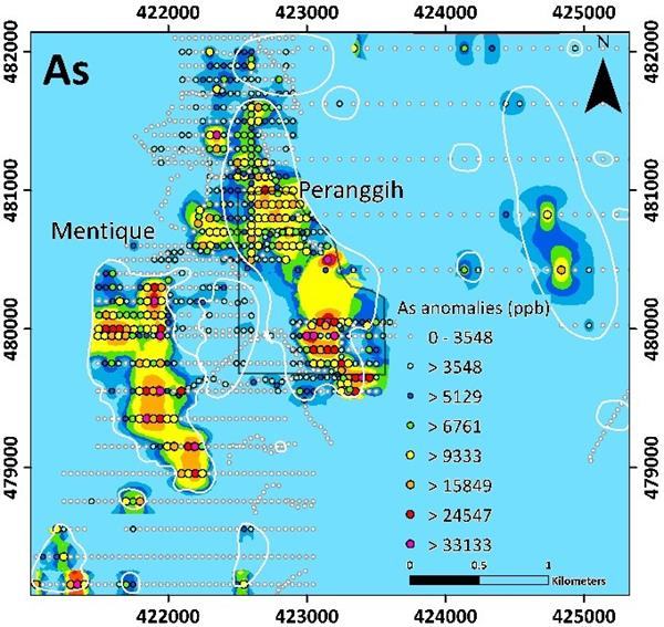 MMY Arsenic As shows a strong spatial correlation with Au both at Peranggih and Mentique Prospect