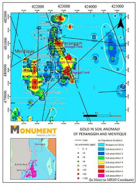 MMY Gold in soil anomaly at Peranggih and Mentique prospects
