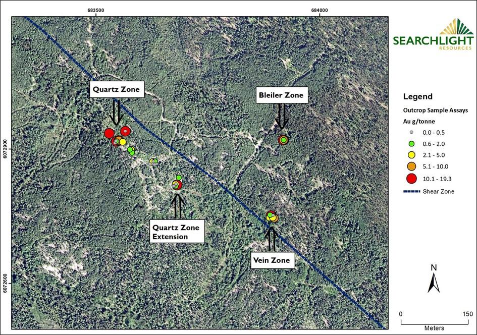 Searchlight Resources Das Goldprojekt Robinson Creek besteht aus 7 Claim Blöcken