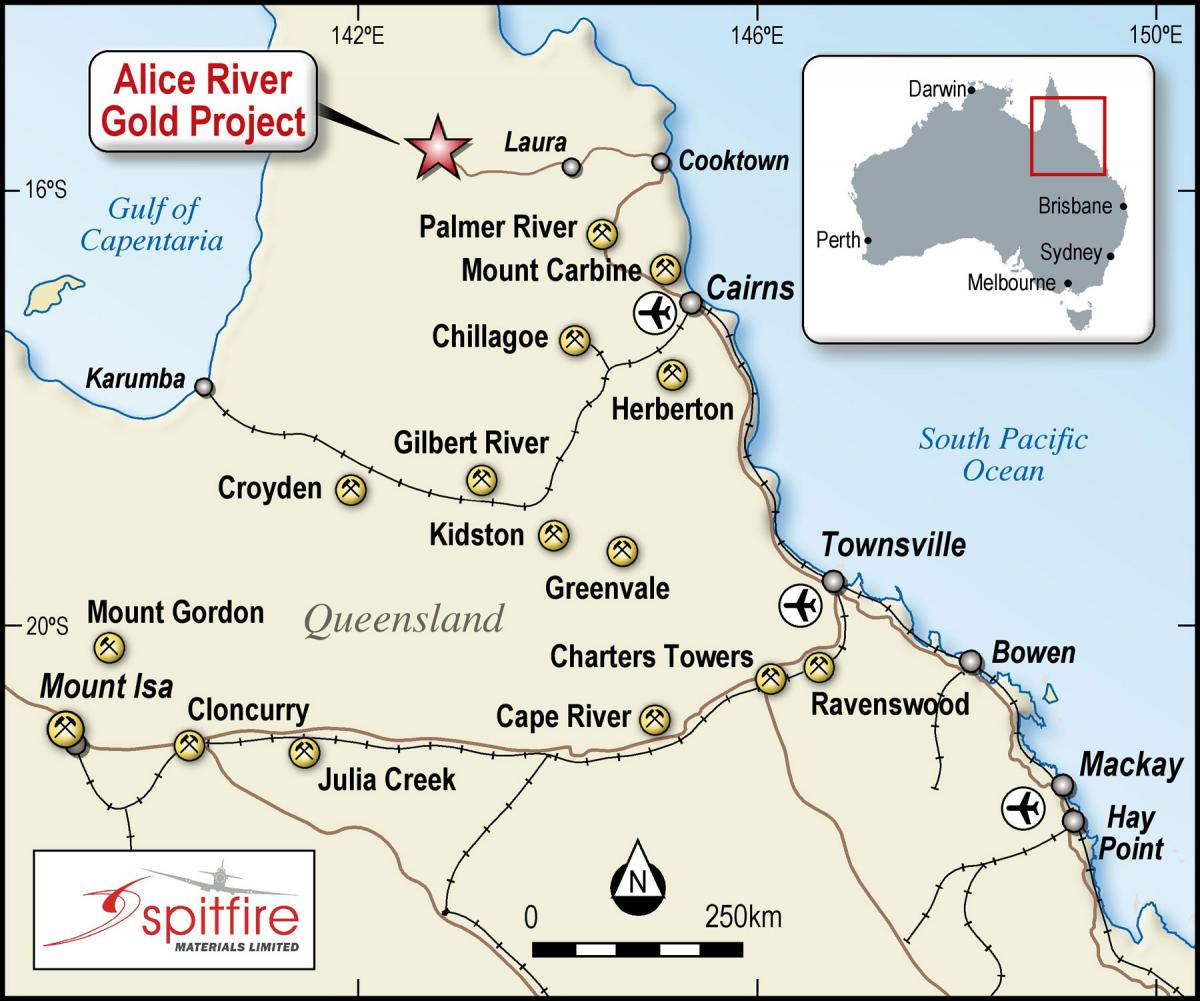 Spitfire Materials Location Alice River Gold Project