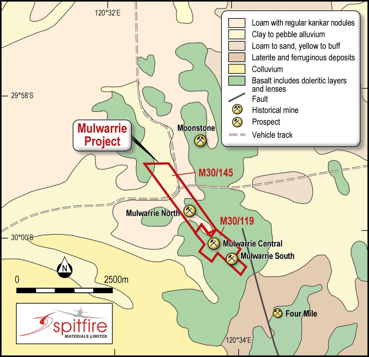 Spitfire Materials Mulwarrie tenements and simplified geology